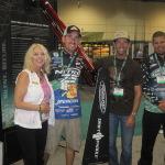 Betty with bass fishing stars Ott Defoe, Ike Iconelli, Chris Lane