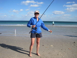 Betty Bauman surf fishing